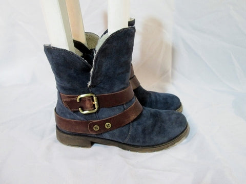 Womens NATURALIZER TALLEY Suede Ankle Moto Boho BOOT BOOTIE 8 BLUE