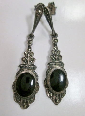 Vintage 925 STERLING SILVER MARCASITE ONYX Noveau Deco Jewelry Black Dangle EARRING Set