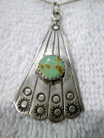 Signed AJC Cleveland 925 STERLING SILVER NAVAJO Necklace Turquoise Southwestern Cowgirl
