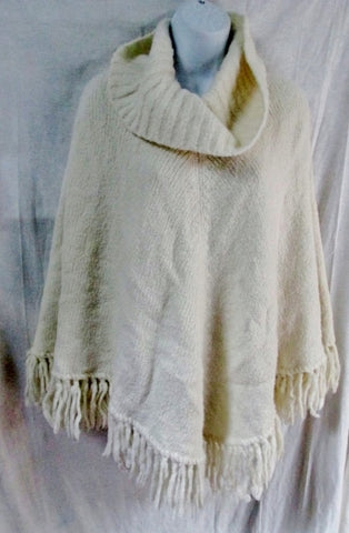 "Womens ANN TAYLOR LOFT Blanket Knit Poncho Fringe Wool Top 35"" XS WHITE Hipster"