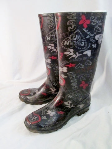 Womens COACH POPPY Gumboots Wellies Rain Boots Rainboots Foul Weather 7 BLACK HEART