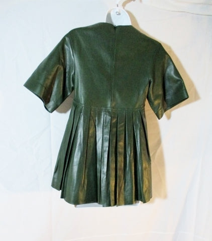 NWT New CELINE LAMBSKIN LEATHER Pleated Shirt Top 36 GREEN Short Sleeve Womens