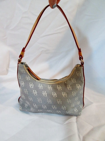 DOONEY & BOURKE Signature Logo Satchel Hobo Shoulder Bag BLUE GRAY Boho