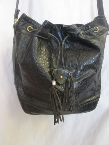 REEM genuine leather hobo crossbody purse bag FRINGE TASSEL BLACK Boho Indie