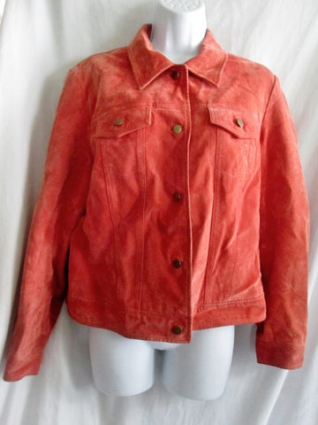 Womens CLOTHES BY REVUE LEATHER suede jacket Hipster Moto Riding Coat ORANGE L