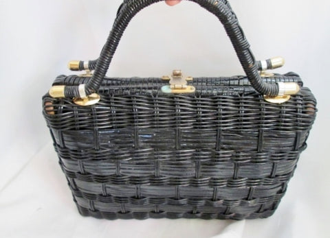 Vintage MARCUS BROTHERS Basket Satchel Evening Bag Clutch Purse BLACK British Hong Kong