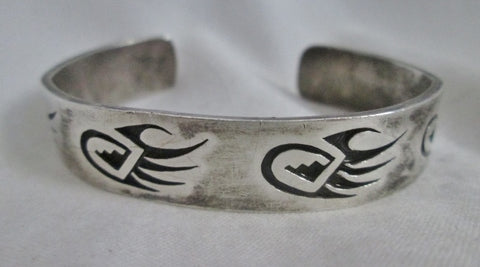 SILVER BEAR PAW CLAW FETISH Bracelet Cuff Bangle BLACK Jewelry ETHNIC Southwest