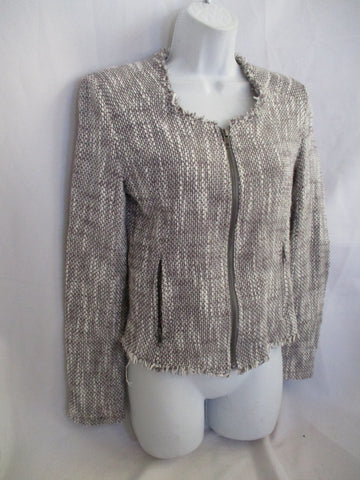 JOIE Gray White Tweed Fringe Full Zip Collis Cardigan Two Tone Jacket M $298