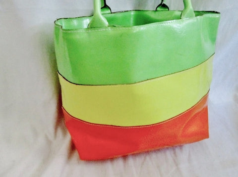 LANCOME Vegan NEW WAVE STRIPED TOTE Carryall Picnic Lunch Beach NEON ACID YELLOW ORANGE GREEN