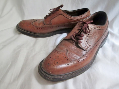 Mens HANOVER L.B. SHEPPARD BROGUE Leather WINGTIP OXFORD Shoes 10A BROWN