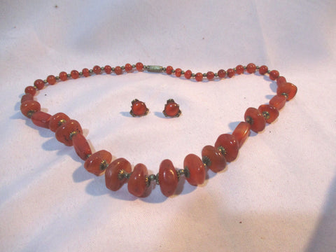 CARNELIAN STONE Beaded Gemstone NECKLACE Pierced Earring Set