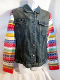 Womens Girls 1980s RUBBER DOLL Denim Jean Biker Jacket RAINBOW KNIT Sweater XL Boho