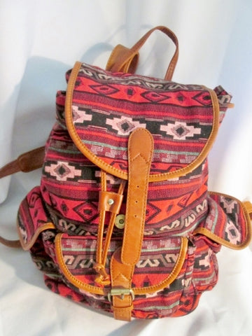 Aztec Mexican Style Rucksack Daytripper BACKPACK BAG RED BROWN Vegan Blanket
