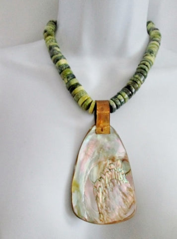 Handmade ABALONE Stone Mermaid Seashell Bead NECKLACE CHOKER Collar Chunky Jewelry