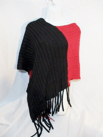 LA VIE BOHEME Poncho Cape Jacket Hippie BLACK RED OS FRINGE Ribbed