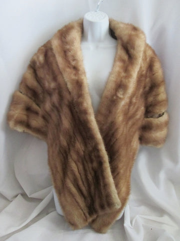 Vintage Authentic MINK FUR Jacket Shawl Wrap Coverup Stole Neck Boa BROWN Collar