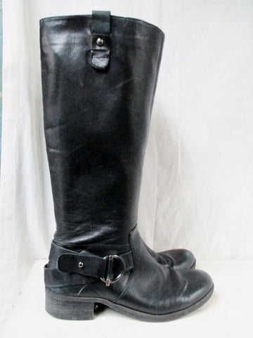 Womens NINE WEST Leather HARNESS Moto Rocker BOOTS Shoes BLACK 8.5 Riding