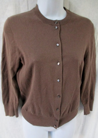 Womens Ladies J. CREW Cotton Blend Cardigan Sweater Jacket XS BROWN CHOCOLATE