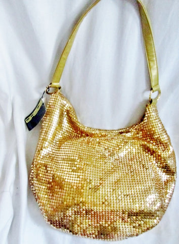 NEW NWT SASHA NEW YORK Metal Mesh Hobo Shoulder Bag M Purse Vegan Glam
