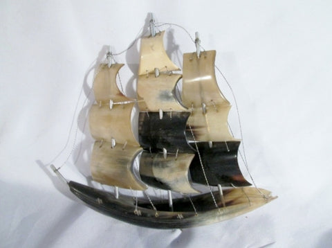 "Handmade 10"" NATURAL Ship Old Sail Clipper Boat Display Nautical Figurine SHELL BONE"