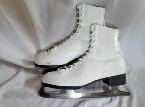 Womens LAKE PLACID FLYER 691 Figure Ice Skates 10 White Elk Leather Winter Sport