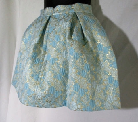 PRADA MILANO ITALY Mini Skirt BROCADE 42 / 6 PINK BLUE GOLD Womens