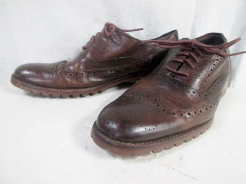 Mens MARIO VITTORIO Leather WINGTIP OXFORD Shoes 11.5 BROWN Cut-Out