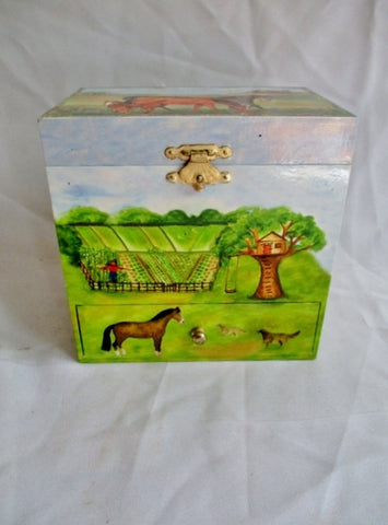 ENCHANTMINTS HORSE RANCH MY OLD KENTUCKY HOME Jewelry Music BOX Case