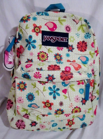 JANSPORT Travel Book BAG Backpack Rucksack Bag Vegan School FLORAL BIRD WHITE