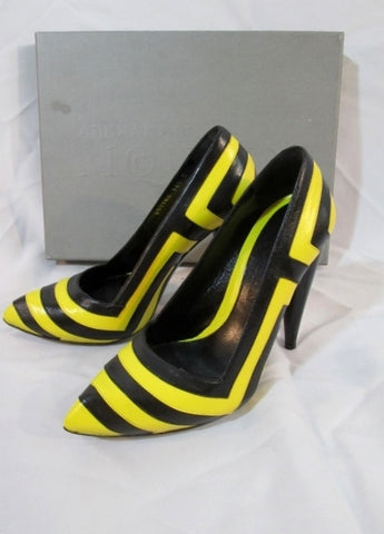Womens ALEXANDER MCQUEEN TAXI Leather Pump Shoe BLACK YELLOW 36.5 6