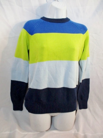 NEW NWT PROENZA SCHOULER Striped COTTON Sweater S YELLOW BLUE Womens
