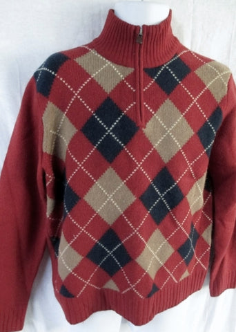 EUC Mens J. CREW Winter Holiday Knit Ski ARGYLE Sweater M Wool RED Christmas