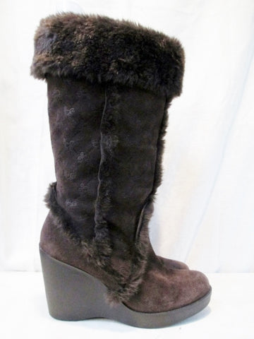 Womens BCBG Suede Sherpa Mukluk Wedge BOOTS Shoes BROWN 7.5 High Heel