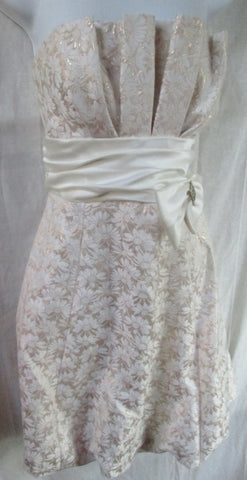 WOMENS BETSY & ADAM Dress Sleeveless Gown 14 GOLD White Jeweled Rhinestone