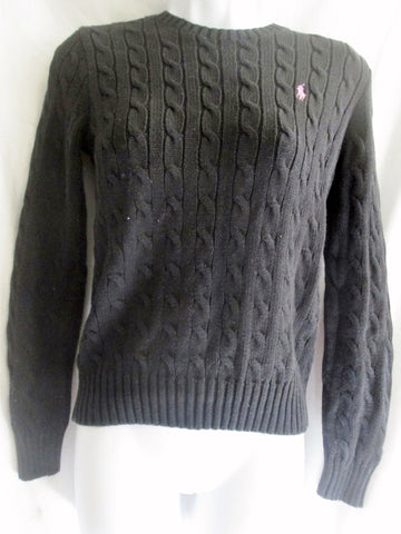 Womens RALPH LAUREN SPORT Crewneck Cable Knit Top Sweater M BLACK
