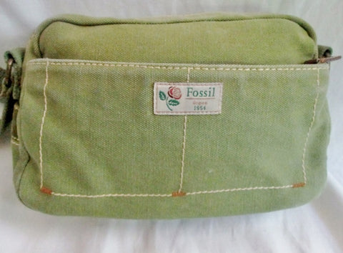 FOSSIL canvas messenger satchel shoulder hobo saddle bag organizer GREEN M vegan