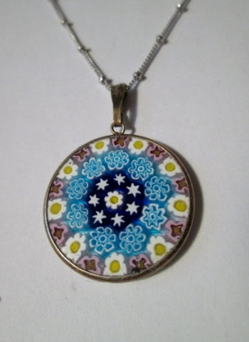 Sterling Silver Millefiori MURANO ITALY Venetian Glass Pendant NECKLACE FLOWER Knotted