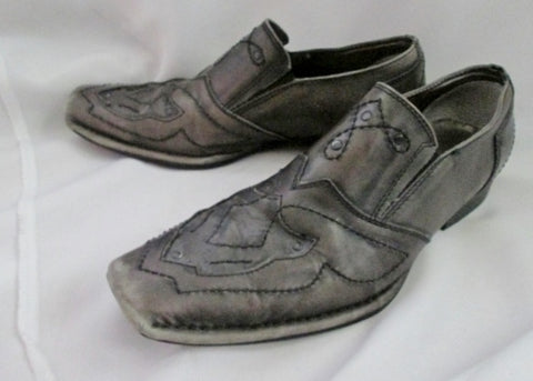 Mens LOUNGE MARK NASON Leather Stud Rockabilly Rocker Shoes 10.5 GRAY GREY