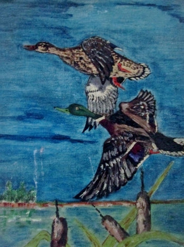 Vintage SIGNED 1960s FJP PAINTING ART GOOSE GEESE DUCK Nature Landscape Fly Sky