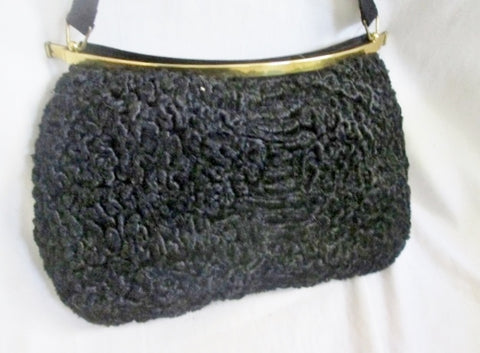 Vintage Genuine PERSIAN LAMB FUR CURLY Boutique handbag purse clutch BLACK EYEBALL