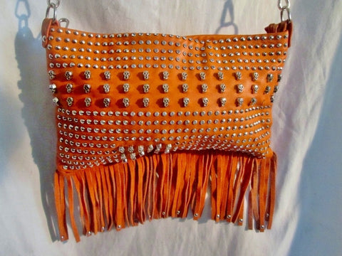 Vegan Fringe Shoulder Flap Bag Purse Messenger Crossbody SKULL ORANGE Stud