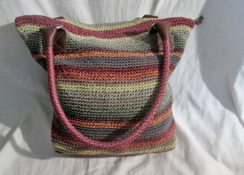 THE SAK Knit Vegan Hobo Tote Satchel Purse Beach Book Bag SUMMER STRIPE