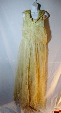 Vintage KLENIERTS Cream Tulle DISTRESSED Wedding Dress 4 Costume Prop