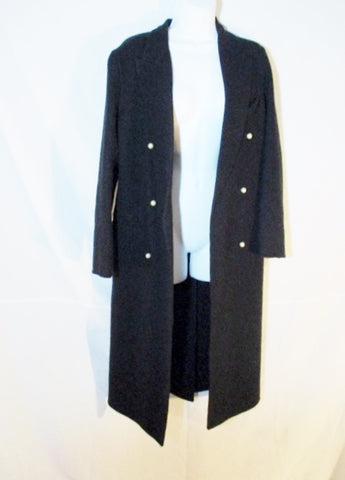 NEW CELINE ITALY CASHMERE jacket coat 38 BLACK Womens Pearl Trench