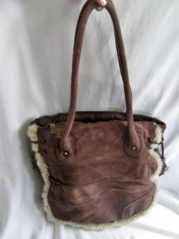 NEW NINE WEST VINTAGE AMERICA Suede Faux Fur TOTE Shoulder Bag BROWN Fringe Tassel