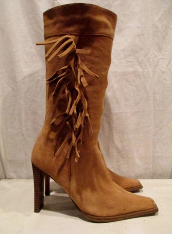 Womens BAKERS NOVA FRINGED SUEDE Leather BOOTS Shoes CHESTNUT BROWN 8.5
