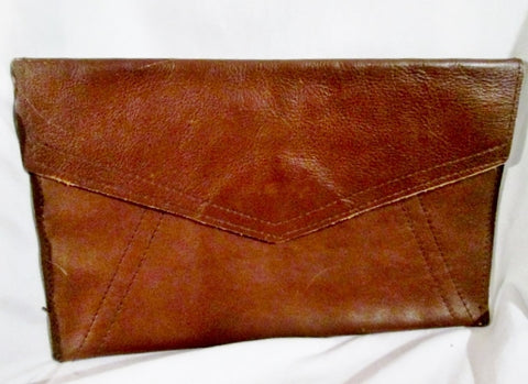 Handmade LEATHER stitch clutch bag flap purse case pouch document holder BROWN CHOCOLATE