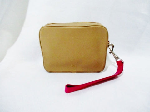 NEW NWT CELINE COMPACT Leather Wristlet Case Purse Box Bag BEIGE TAUPE Clutch