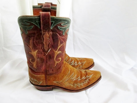 Womens CAT'S PAW Suede Leather Cowboy Western BOOT BROWN 8 GREEN Rocker