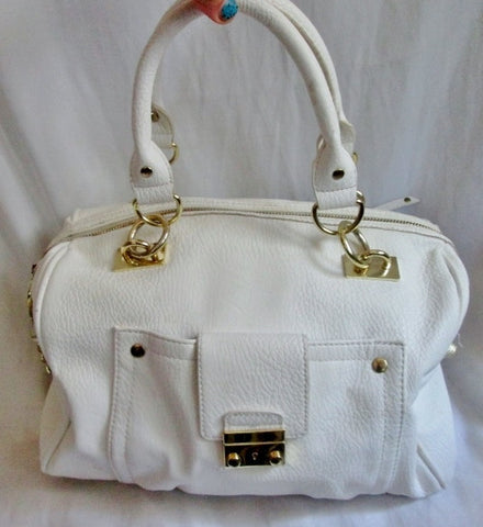 OLIVIA + JOY ZIP Vegan Faux Leather TOTE satchel shoulder bag duffle WHITE briefcase